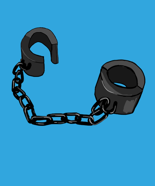 An illustration depicting a pair of manacles, commonly used to restrain enslaved people during slavery in the United States