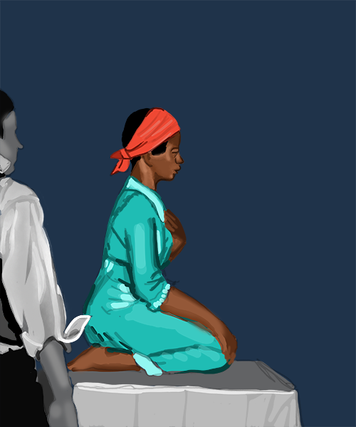 An illustration depicting a black woman, whose red headband and green dress are colorized amid an otherwise black and white illustration, kneeling on a raised platform, with the profile of a white man in the foreground barely visible on the side of the image
