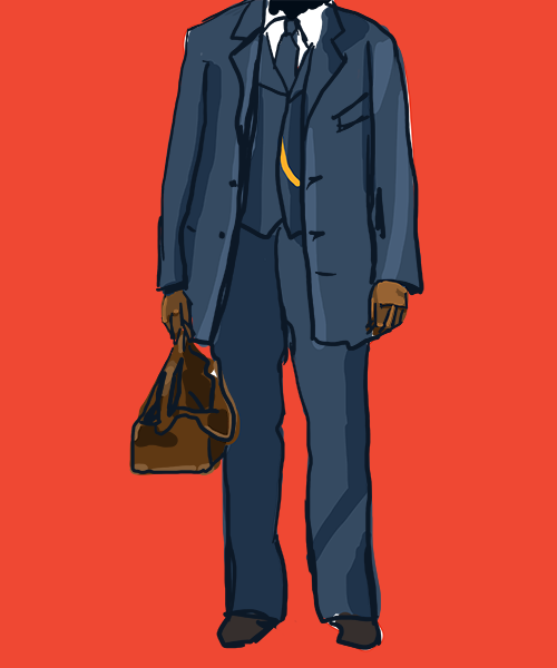 An illustration of a black man depicted from the shoulders down, wearing a three-piece suit, carrying a medical bag