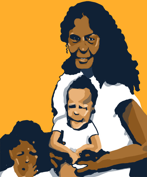 An illustration depicting a black Puerto Rican woman holding a young child on her lap, with another child nearby.