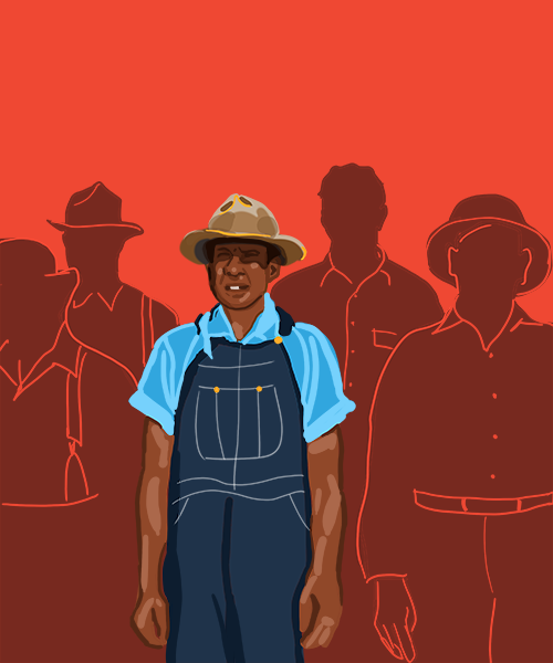 An illustration depicting a black man in common clothing of a farmer from 1930s America, centered in a group of other similarly dressed figures who are shown in outline only