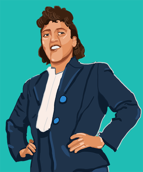 An illustration depicting Henrietta Lacks, wearing a suit, smiling, and with her hands on her hips