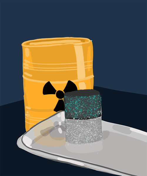 An illustration of a steel barrel with a radioactive waste label, behind a medicine tablet resting on a steel tray